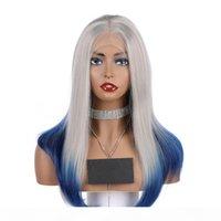 Ombre courte droite cheveux dentelle synthétique dentelle avant perruque de style bob style Wig cosplay Résistant à la chaleur Synthetic Blue perruque