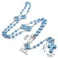 Blå turkos rosenkrans halsband kors halsband katolska religiösa gåvor epidemiska bön pärlor