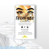 Custom Add Your LOGO Eyelash Template Personalized Social Media Card Small Business Insert Simple Shop Packaging Cards Greeting