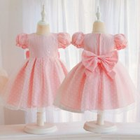 Girl's Dresses Baby Girl Big Bow Lace Dress Christening Puff Sleeve Gown Baptism Clothes Born Kids Birthday Princess Infant Party Frocks