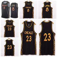 رجل 23 MJ جيرسي زاك 8 لافين كرة السلة الفانيلة 2020/21 سوينغمان سيتي نسخة جديدة مخيط الفانيلة السوداء