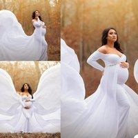2021 white Plus Size Pregnant Ladies Maternity Sleepwear Evening Dress Nightgowns For Photoshoot Lingerie Bathrobe Nightwear Baby Shower