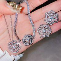 Earrings & Necklace Sasanqua Flower Pendant Silver Charm Bracelet Long Chain Stud Bling Zircon Stone Ring S925 Fashion Jewelry