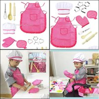 Textiles Home & Gardenpretend Play Children For 11Pcs Kids Kitchenware Set Cook Costume Cooking Pretended Toy Aprons Drop Delivery 2021 Ybha