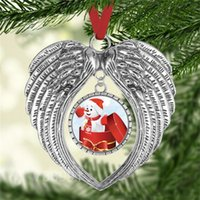 2021 New Year sublimation christmas ornament decorations angel wings shape blank hot transfer printing consumables supplies gift