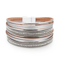 Charm Bracelets Fashion Matching Minimalist OL Style Width Leather Bracelet For Women Bohemian Multi-layer Ladies Ethnic Beads