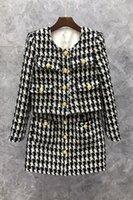 Xiaozi Western Short Plaid Coat Skirt Two-Piece Womens Clothing Autumn European Goods New Korean Style Suit 9o