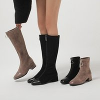 Boots Handmade Winter Shoes Size 42 Knee High For Women Wide Calf Booties Square Toe Front Zipper Block Heels Stretch