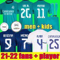 Fãs + Jogador Real Madrid Jerseys 21 22 Camisa de Futebol de Futebol Alaba Hazard Benzema Asensio Camiseta Men Miúdos Kit 2021 2022 Casemiro K