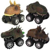 4 피스 세트 장난감 차량 공룡 그림 풀백 자동차 모델 Tyrannosaurus Triceratops allosaurus 어린이를위한 A0512