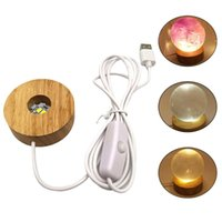 Round Wooden 3D Night Light Base Holder LED Display Stand For Crystals Glass K4UA Book Lights