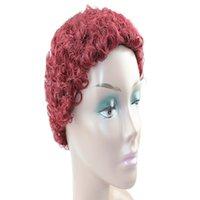"Machine Mode 4"" Cheap Cut Wig Weave Medium Browm Wine Red Kinky Curl Hair Bug Raw Indian Virgin Short Hair Unprocessed"