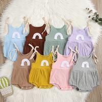INS Korean Australia Baby Jumpsuits Rainbow Designer Summer Newborn Ribbed Knitted Cotton Onesies Bodysuits