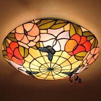 Tavan Işıkları Avrupa Kelebek 16 inç LED E27 110-240 V Pastoral Işık Tiffany Yuvarlak Cam Abajur Lamparas de Techo Abajur