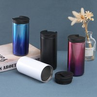 2021 Creative Gradient Color Coffee Mug Stainless Steel Vacuum Flask Cup Double-layer Water Tumbler Q167