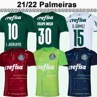 21 22 Palmeiras G. Gomez Mens Futbol Formaları L. Adriano Ramirez B. Henrique Willian Ev Yeşil Uzakta Beyaz Futbol Gömlek Kısa Kollu