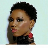 Kısa İnsan Saç Peruk Kısa Afro Kinky Kıvırcık Pixie Kesim Peruk Brezilyalı Haman Saç Kısa Peruk İnsan Saç Peruk Moda Siyah Kadınlar için