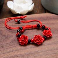 Braccialetto perline, fili fatti a mano Donne Rosa Braccialetto Etnico Lacca per artigianato Etnico Fiore cinnabro intagliato per corda rossa perline