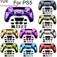 Game Controllers & Joysticks YUXI For PS5 Controller Full Set Chrome Housing Case Cover Decorative Strip Shell Buttons Mod Kit