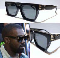 남자 선글라스 백만장 자 정사각형 프레임 빈티지 반짝이 골드 여름 UV400 렌즈 1165 스타일 레이저 최고 품질