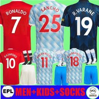 Kit Adulto 21 21 22 2 22 Ronaldo Sancho Manchester Man Futebol Jerseys United Cavani fãs jogador Bruno Fernandes Pogba Rashford R. Varane Camisas de futebol Utd 2021 2022