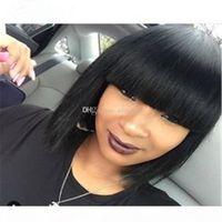 Прямые человеческие парики волос с челкой короткие боб парики для черных женщин REMY парики волос 10 дюймов бразильский прямой Боб парик для афроамериканцев