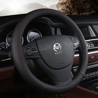 Steering Wheel Covers Car Steering-wheel 37cm-38cm Leather Hand-stitched PU Dermay Cover Fit For Most Cars Styling