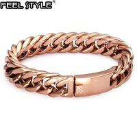 HIP 316L Stainless Steel Cool Rose Gold Color Men Bracelet Curb Cuban Link Chain Bracelets For Men Women Jewelry Dropshipping