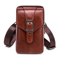 Leather Cowhide Men Waist Pack Mini Shoulder Crossbody Fashion Waist Fanny Pack Phone Cigarette Case Bag Wallet Belt Bag For Men