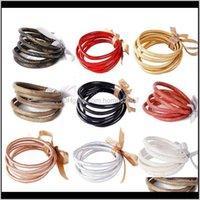 Jewelry5Pcs Bohemia Glitter Jelly Bangle Bracelet Set Bowtie Pu Leather Hoop Bracelets Lx9E Drop Delivery 2021 Ao3Ve