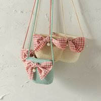 Lovely Bow Cherry Cartoon Bunny Handmade Girl Small Bag Lace Baby Summer Outing Travel Sweet One Shoulder BJ005 210610