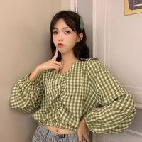 Women Summer Tshirt Kawaii Vintage Lovely V-neck Long Sleeve Plaid Shirt Female Sweet Harajuku Tunic For Women's Top T-Shirt