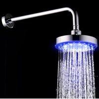 Rodada de aço inoxidável de 6 polegadas Bathroom RGB LED Lâmpada Chuveiro Sensor de Temperatura Temperatura Chuva com Color Cha Bath Accessory Set NHD7091
