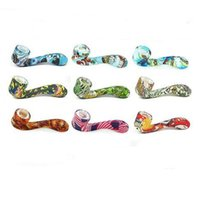 Pyrex Oil Burner Pipe Printing Sherlock Handcrafted Spoon Bubbler Smoking Pipes With Oils Herb Hidden Bowl