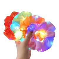 LED Hairband Luminous Scrunchies Ponytail Holder Headwear Women Girls Elastic Satin Silky Scrunchy Tie Rope Hair Accessories Party toys