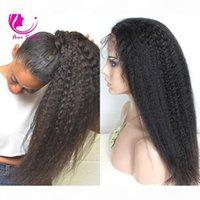 Virgem não processado Alto rabo de cavalo completo peruca brasileira brasileira reta reta grosso yaki cabelo humano perucas de renda completa para mulheres negras