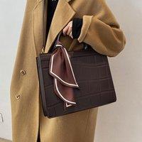 Hohe Qualität PU-Leder Stein Muster Ribbon Handtasche Dame Designer Große Kapazität One-Shoulder Messenger Bag Umhängetaschen