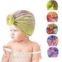 Herbst Krawatte gefärbte Farben Drucken Neugeborene Baby Caps Kinder Jungen Mädchen Donut Elastic Pullover Indische Kappe Kopfband Infant Outdoor Hut G697G0H