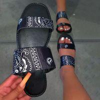 Sandali da donna Slip on Floral Satin PU in pelle Casual Ladies Slides Slifts Diapositive Donna Pantofole Comfort Summer Shoe femminile 2021