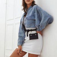 Women's Jackets Fashion Women Crop Denim Jacket Coat Pocket Stand Collar Long Sleeve Single Breasted Button Outwear Streetwear 2021