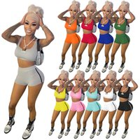 Summer Womens Tracksuits cropped top Vest slim mini shorts 2 two piece outfits set sportswear casual jogging running sweatshirt gym sports clothing