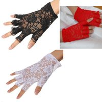 Party Masks 1920s 30s Cosplay Costumes Wedding Sunblock Fingerless Bridal Lace Gloves Short Floral For Women
