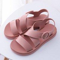 Frauen flache sandalen gladiator schnalle weiche gelee sandalen weibliche lässig frauen flache plattform frau strand schuhe sommer schuhe t95g #
