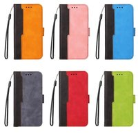 Contrast Color Wallet pu Leather Cases For Iphone 13 12 11 Pro Max Mini XR XS 8 7 SE2 6 Hybrid Credit ID Card Slot Holder Stand Cover Magnetic Pouch Strap Lanyard Fashion