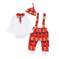 Christmas Newborn Outfits Boys Clothing Sets Baby Clothes Infant Suits Long-Sleeved Romper Jumpsuit Suspender Trousers Hats 3Pcs B8483