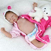 22 '' Reborn Baby Puppen Handmade lebensechte Neugeborene Silikon Vinyl Bauchpuppe Weiche Kotchenkörper Weihnachten Geschenke