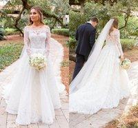 Elegant Lace Wedding Dresses Off The Shoulder Bridal Gowns Long Sleeves A Line Sweep Train Garden Plus Size Vestido De Novia