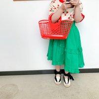 ics 여름 어린이 레이스 프릴 스커트 소녀 녹색 비대칭 스커트 키즈 코튼 의류 소녀 꽃 탑스 A6850