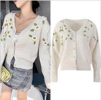 730 2021 Summer Brand Same Style Regular Long Sleeve V Neck Cardigan White Kint Sweater Women Clothes YL