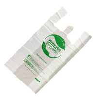 bio degradable compostable corn starch made PLA PBAT Vest carry grocery T shirt printed shopping bags Handbag Vest bag